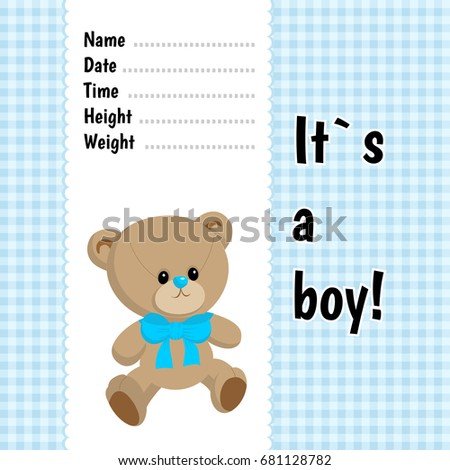 Boy Card Template Blue Checked Pattern Stock Vector 681128782 ...