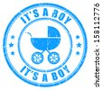 It's a boy vector stamp - stock vector