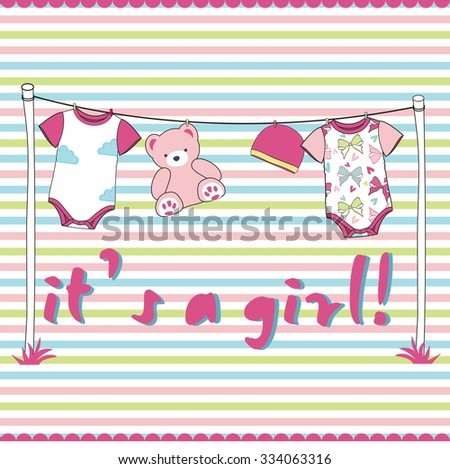 It's a girl - baby announcement card - stock vector