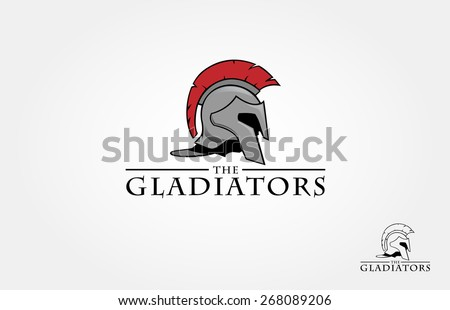 It's a Roman soldier or spartan, or gladiator helmet logo, this logo try to symbolize a strength, power, and concept of heroic - stock vector