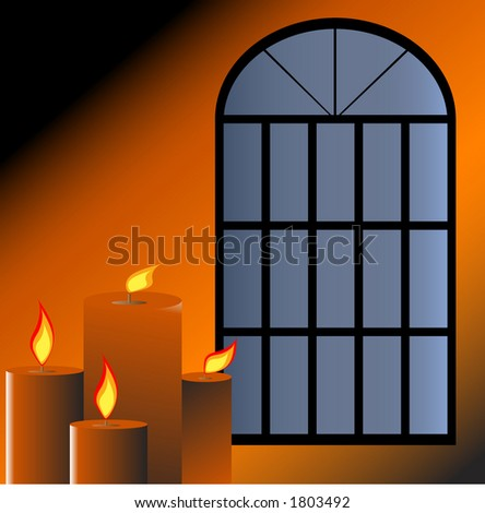 It's cozy inside - Candles by window illustration - stock vector