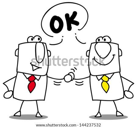 it's ok. two businessmen shaking hands. - stock vector