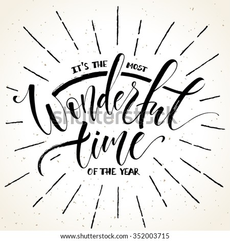 Most Wonderful Time Year Template Greeting Stock Vector 352003715 ...