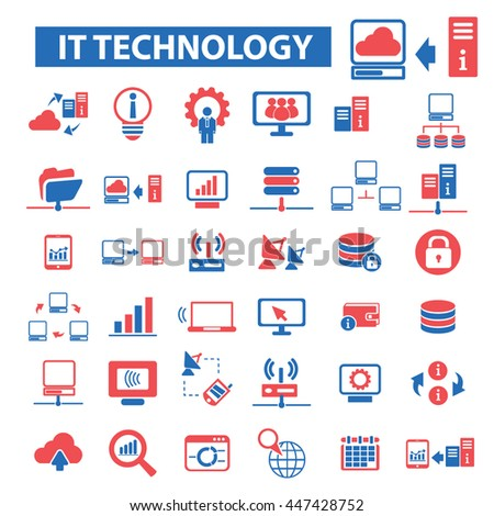 it technology, connection, communication, link, internet, online, phone, computer network, hosting, system administration, router, laptop, tower, antenna, equipment, lan, broadcasting icons vector - stock vector