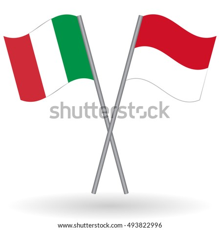 Italian and Indonesian flags Italian flag, Italy flag, flag of Italy. Indonesian flag, Indonesia flag, flag of Indonesia. Italy vs Indonesia. Flags of world, flags of nations, football flags isolated