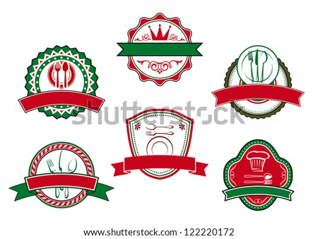 Italian cafe banners and labels for restaurant design, such a logo template. Jpeg version also available in gallery - stock vector