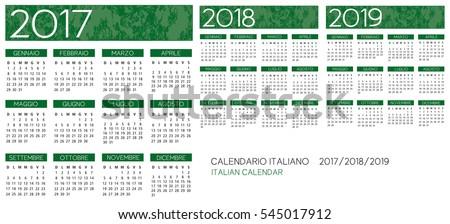 Italian Calendar 2017-2018-2019 vector text is outline version 10