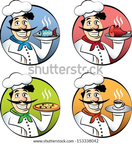 Italian cartoon chef or cook man vector set - stock vector