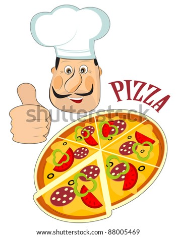 Italian chef and a pizza isolated on white background - stock vector