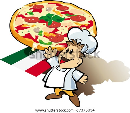 Italian pizza images vector with chef cook for delivery cards deasign