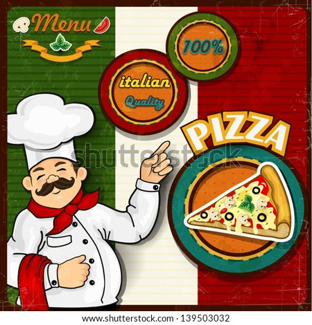 Italian chef  pizza  cartoon comic menu-transparency blending effects and gradient mesh EPS-10