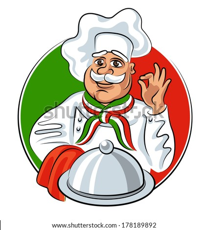 Italian chef showing okay sign with silver plate tray. Vector illustration - stock vector