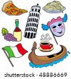 Italian collection on white background - vector illustration. - stock vector