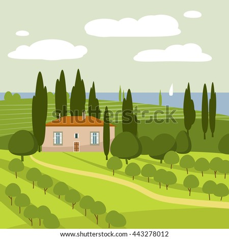 Italian countryside landscape, vector, illustration
