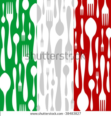 Italian Cuisine. Cutlery silhouettes: spoon, knife and fork pattern on green, white and red wide striped background as an icon of the country flag.