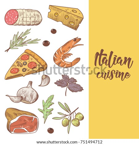 Italian stock vectors images vector art shutterstock for Conception cuisine snack