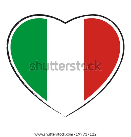 Italian flag in heart shape. Vector illustration. - stock vector