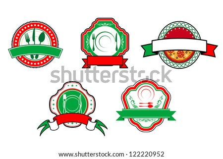 Italian food banners and labels for cafe and restaurant design, such a logo template. Jpeg version also available in gallery - stock vector