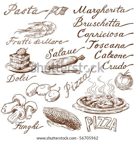 italian food doodles - stock vector