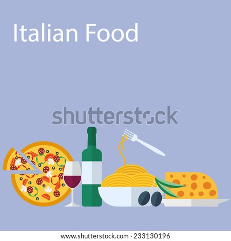Italian food flat vector background - stock vector