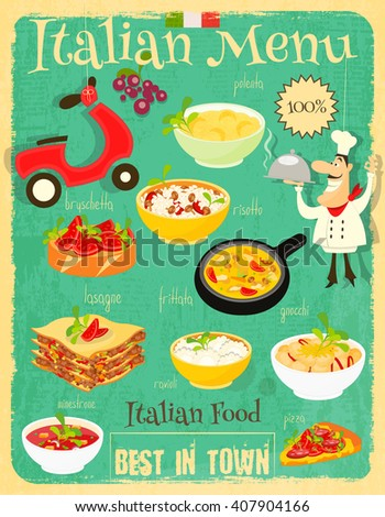 Italian Food Menu Card with Traditional Meal. Retro Vintage Design. Italian Cuisine. Food Collection.  Vector Illustration. - stock vector