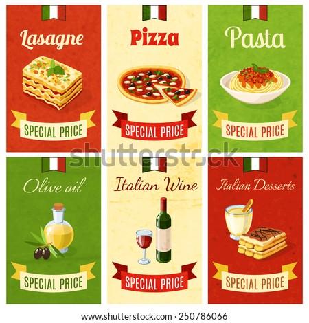 Italian food mini poster set wtih lasagne pizza pasta olive oil wine dessert isolated vector illustration - stock vector