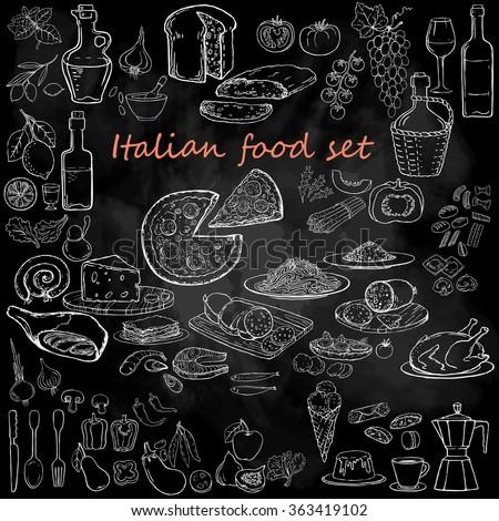 Italian food set. Hand drawn vector illustration. Pizza set. Vintage. Sketch. Chalkboard background. - stock vector