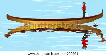 Italian gondola, a man, and reflection in the river, vector illustration - stock vector