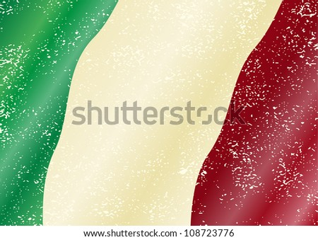 Italian grunge flag. Grunge effect can be cleaned easily. - stock vector