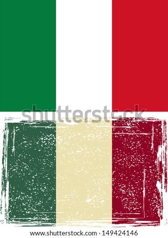 Italian grunge flag. Vector illustration. - stock vector