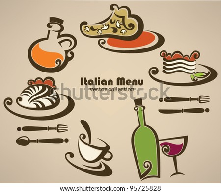 Italian menu, vector collection of food and beverages symbols - stock vector