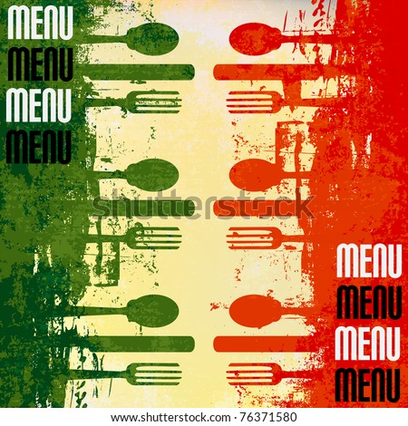 Italian Menu Vector template over a flag of Italy - stock vector