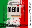 Italian Menu Vector Template, with a view of Venice - stock photo