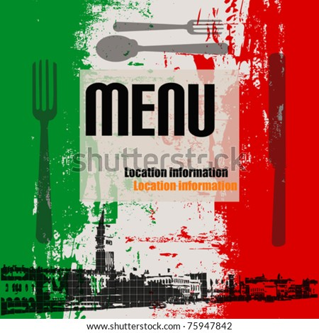 Italian Menu Vector Template, with a view of Venice - stock vector