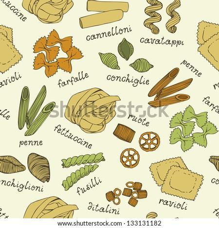 Italian pasta color set seamless pattern - stock vector