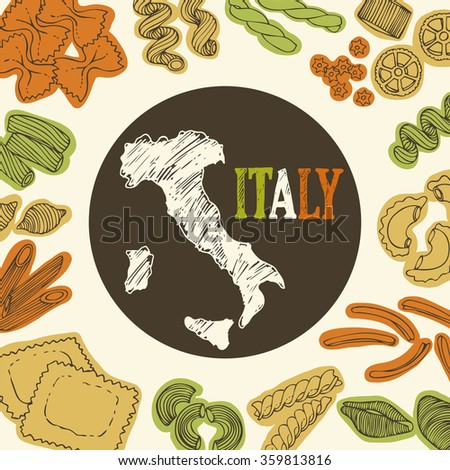 Italian pasta food background, vector set of hand drawn shapes of pasta and map of Italy - stock vector
