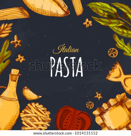 Italian pasta menu design for restaurant and cafe. Template with sketch hand drawn spaghetti on dark chalkboard