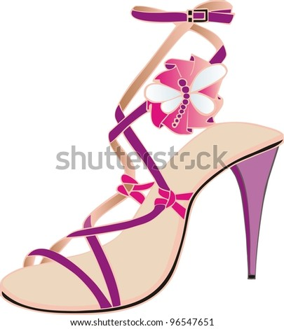 italian pink sandal - stock vector