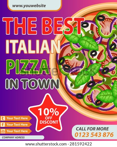 Italian pizza modern discount poster. Vector illustration can be used for food menu or street food posters design, prints, web and other crafts. - stock vector