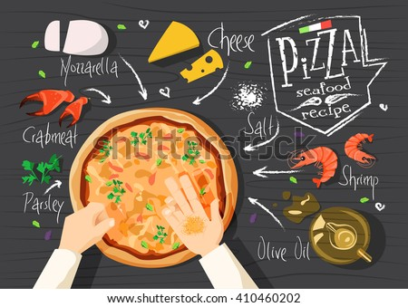 Italian pizza recipe. Seafood pizza. Italian pizza. delicious pizza. Cooking pizza. Products for pizza. Tasty pizza. Fast pizza. Chief pizza. Delivery pizza. Pizza by  myself. Pizza in microwave.  - stock vector