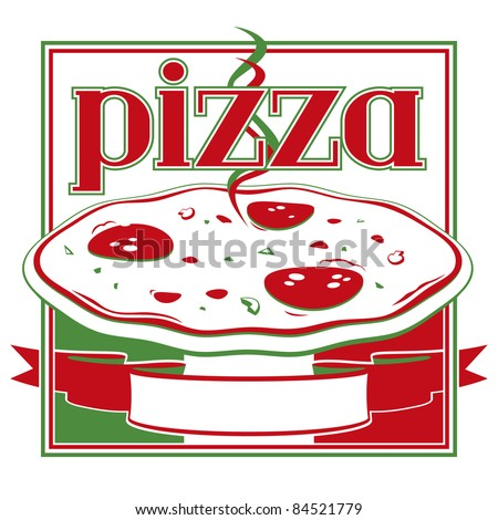 Italian red and green pizza box cover design template - Vector - stock vector