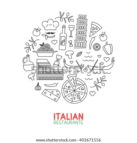 Italian restaurant linart. Creative minimalistic icons in circle  for Italian restaurants and cafes. Ideal for menu decoration and branding. - stock vector