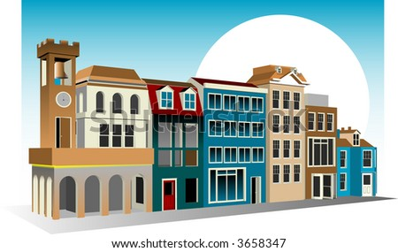 Italian Style Architecture Shopping Mall - stock vector