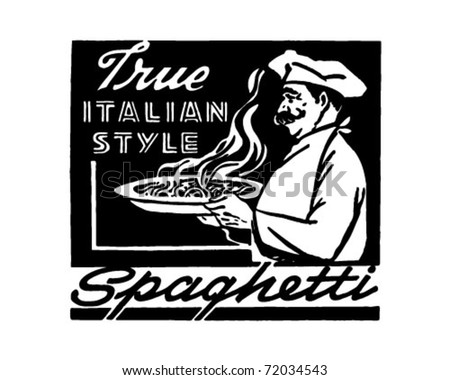 Italian Style Spaghetti - Retro Ad Art Banner - stock vector
