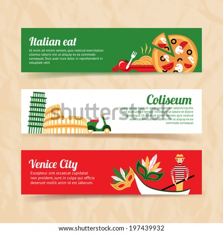 Italy banner set italian eat coliseum venice city isolated vector illustration - stock vector