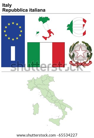 Italy collection including flag, plate, map (administrative division), symbol, currency unit & coat of arms - stock vector