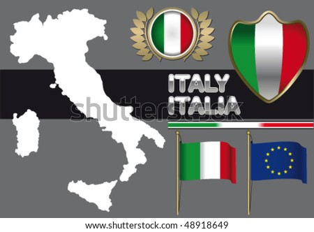 Italy contour and flag - stock vector