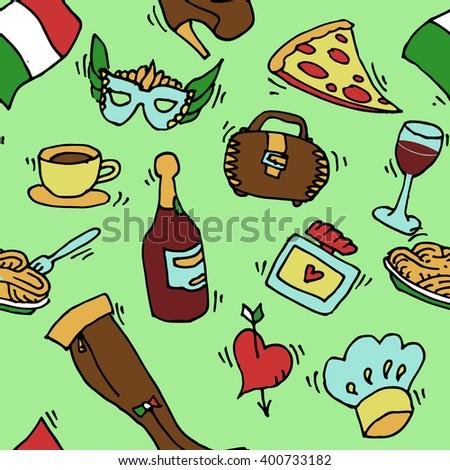 Italy doodle set pattern. Famous Rome landmark, food set. Italian Rome travel. Coliseum Travel background. - stock vector