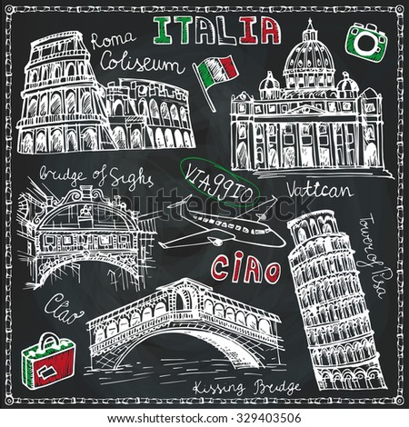 Italy famous landmark,lettering set. Vintage Hand drawn doodle art sketchy. Italian  travel, hello.Coliseum, Vatican, bridges of Venice, tower of Pisa.Travel background.