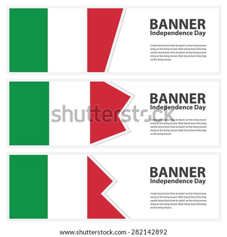 Italy Flag banners collection independence day - stock vector